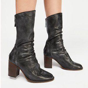 NEW Free People Elle Block heel boot in black 7